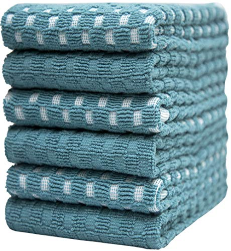 """Premium Kitchen Towels (16""""x 28"""", 6 Pack) 3 pcs Yarn Dyed + 3 Solid – Chess Design – 380 GSM Highly Absorbent Tea Towels Set with Hanging Loop (Aqua, Kitchen Towels)"""