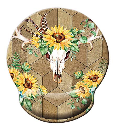 Vintage Wood Mouse pad Boho Bull Skull Sunflowers Wrist Mouse mat - Durable & Comfortable for Easy Typing & Memory Foam Pain Relief-Ergonomic Support¡