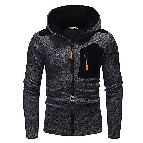 UJUNAOR Männer Langarm Hoodie Winter Herbst Sweatshirt Top Outwear Mit Kapuze(Schwarz,CN L)