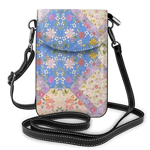 Garden Bounty - Bolso bandolera de piel con espejo, diseño de retazos para teléfono móvil, ligero, para mujeres, viajes, compras