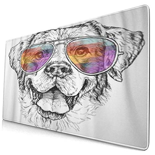 HUAYEXI Alfombrilla Gaming,Hipster de Perro Pastor con Gafas de Sol de Aviador Animal doméstico Curiosidad Lindo,con Base de Goma Antideslizante,750×400×3mm