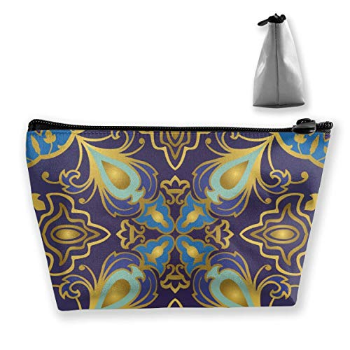 Oriental Decorative Gold Lines Bright Rich Blue and Purple Patterns Personalized Trapezoidal Storage Bag Ladies Waterproof for Carrying Travel