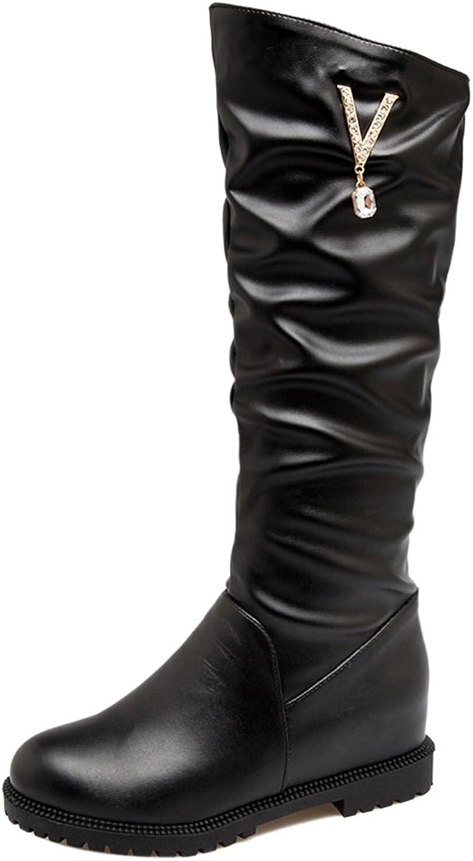 RizaBina Women Mid Calf Boots Hidden Heel