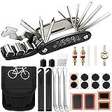 Kit de Herramientas de Reparación de Bicicletas,16 en 1 Juego de Pinchazos Multifunción,Montaña Bicicletas Accesorios,Neumáticos Palancas,Llave de Núcleo de Válvula,Escofina,Neumáticos Parches y Bolsa