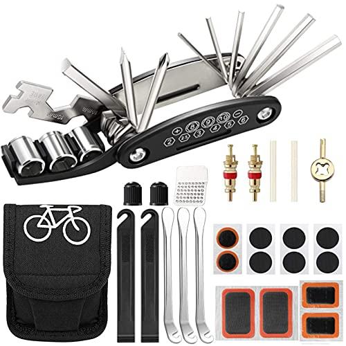 Fahrrad Multitool Reparatur Werkzeug Kit,16 in 1 Punktions set,Mountainbike Fix Zubehör,mit Reifenheber,Ventil Ader Schlüssel,Ventil Ader,Gummi Tube,Reifen Raspel,Reifen Patches und Tasche for männer