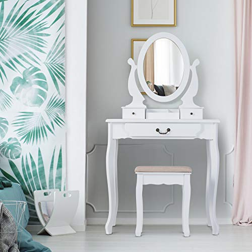 Buy Bargain Tiptiper Vanity Table Set, Vanity Sets with 360° Rotating Oval Mirror Dressing Table wi...
