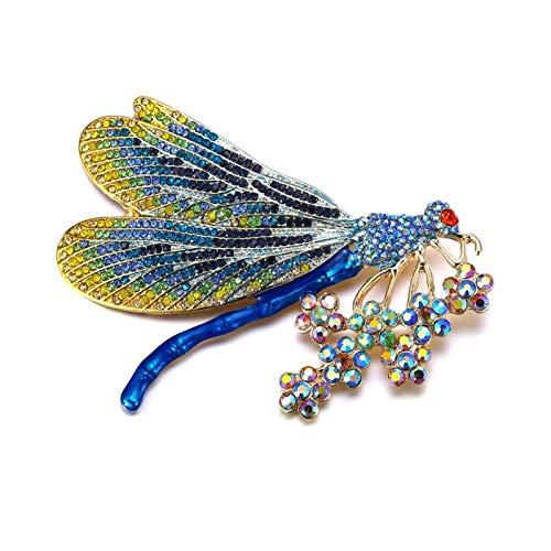WANGJINQIAO Moda Femenina Animal Broche Damas Broche de Oro Dragonfly Cristal Fiesta joyería de Regalo Esmalte Broche (Color : Blue Gold)