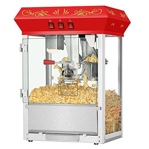Countertop Movie Night Popcorn Popper Machine-Makes Approx. 3 Gallons Per Batch- by Superior Popcorn Company- (8 oz., Red)