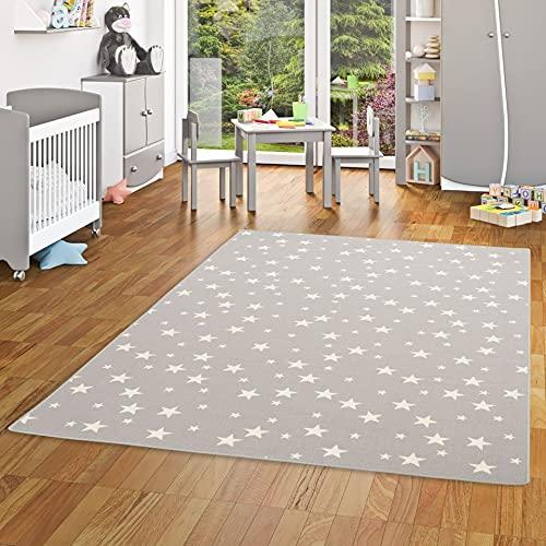 Alfombra Infantil y de Juego con diseño de Estrellas - Gris - 17 tamaños