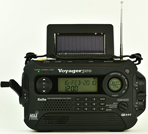 Kaito KA600L 5-Way Powered Emergency AM/FM/SW NOAA Weather Alert Radio with Solar,Dynamo Crank,Flashlight and Reading Lamp, Digital Radio with Larger Battery and Solar Panel (Black)