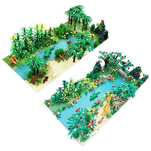 BGOOD Juego de accesorios para paisajes personalizados, juego de 4 placas de construcción, bosque tropical, juguete de construcción con árboles y animales, compatible con Lego
