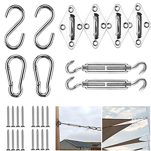 Xiaorouqiu M5 Kit de Montaje para Toldo, 42 Piezas Heavy Duty Sun Shade Sail Hardware Kit de Acero Inoxidable en para Triángulo, Cuadrado, Rectángulo, Accesorios de fijación de Vela Sun Shade