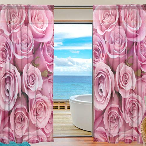 Sheer Curtains Voile Tulle 55 W x 84 L Inches,2 Panels Elegant Valenti