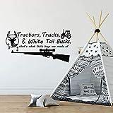BATTOO Tractors, Trucks White Tail Bucks - Little Boys are Made of - Deer Tracks Boys Hunting Wall Decals Children Wall Decal Vinyl Art - Nursery Wall Vinyl Decal Vinyl(Black, 22' WX13 H)