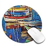Alfombrilla de ratón redonda de 20 x 20 cm, estilo de arte popular pintura de barcos en la costa en el crucero de crucero por el mar, con base de goma antideslizante