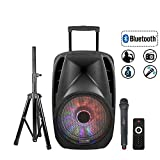STARQUEEN Portable Bluetooth Speaker 15Inch Woofer, Outdoor Rechargeable PA System with Wireless Micorphone/Remote/Wheels/DJ Light/Stand, Karaoke Party Amplifier Sound System with AUX/FM Radio/SD/USB