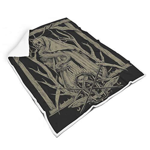 Lind88 Decke mit Schlangenmuster und Totenkopf-Muster, Mikrofaser, Riesen-Bademantel – Kreuzsensse, weich und warm, Fleece, weiß, 50x60 inch