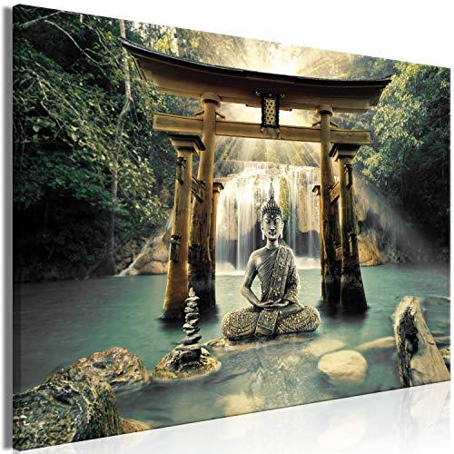 murando Cuadro en Lienzo Buda 90x60 cm impresión en Material Tejido no Tejido impresión artística fotografía Imagen gráfica decoración de Pared - Paisaje Zen Cascada Naturaleza p-A-0033-b-b