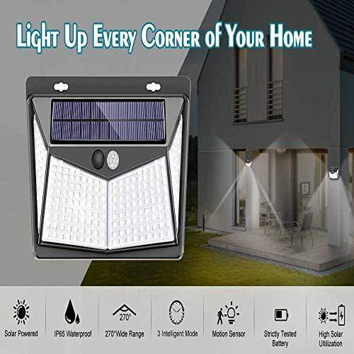 NOBRAND Luces Solares Al Aire Libre 208Leds Ip65 Impermeable Sensor De Movimiento Inalámbrico Luz 270 & Deg;Lámpara Solar De Gran Angular con 3 Modos