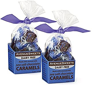 AvenueSweets - Handcrafted Dairy Free Vegan Individually Wrapped Soft Caramels - 2 x 5.2 oz Boxes - Sea Salt Chocolate