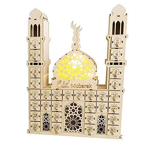 Yuemei Holz DIY EID Mubarak Kalender, Ramadan Muslim Islam Countdown Schublade Ornamente Eid Mubarak Muslimischer Dekor, Holz Adventskalender Tischdekoration (A)