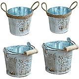 Warooma Macetero vintage de metal, 4 unidades, de metal galvanizado, jarrón de hierro y cuerda de...