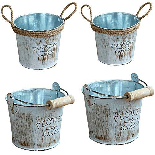 Warooma Vintage Metall Blumentopf, 4 Stück, verzinktes Metall Garten Shabby Vase Topf Eisen Hanf Seil Blumenfass Dekorative Eiskübel Vase Ideal für Bepflanzung Dekoration Aufbewahrung