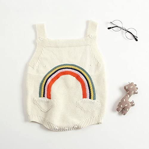 Armilum Infant Sweater Sling Knit Baby Girls Romper Infant Girls Sleeveless Summer Thin Knitted Harness Sling Bow Solid Color Ruffled Spring and Summer Harness Jumper Suit Bodysuit
