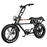 Addmotor MOTAN Electric Bicycle 20 Inch Fat Tire 750W Motor 48V 14.5Ah Lithium Battery Powered Assist Motorcycle Headlight M-70 Platinum Cruiser Retro E-Bike for Adults Men