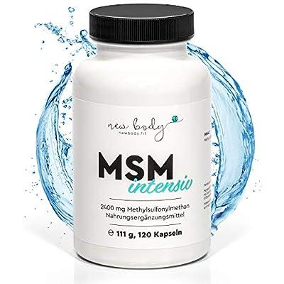 new body® MSM Kapseln - 2400 mg für eine optimale Tagesdosis. Hochdosierter organischer Schwefel - 120 Kapseln, hergestellt in Deutschland - optimal in Ergänzung zu OPC, Omega 369, oder Protein.