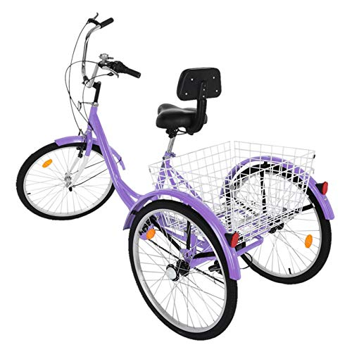 Faxing Tricycle with Backrest 1/7 Speed Adult Three Wheel Cruiser Bike 24 inch Wheels, Cargo Basket for Seniors, Women, Men, from US (Purple)