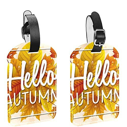 Etichette per borse da viaggio e bagagli per uomo Ciao foglie gialle autunnali Etichette per bagagli in materiale PU Etichette per borse Accessori 2 pezzi
