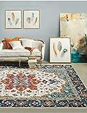Fancytan Tapis Oriental Vintage à Fleurs, Style bohème, pour Salon, Chambre à Coucher, Décoration de la Maison, 160 x 230 cm