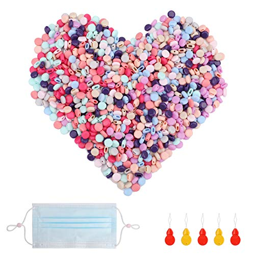 1000 Pcs Cord Locks for Mask, Elastic Cord Adjuster Non-Slip Stopper, Silicone Rope Toggles with 5 Needle Threaders, Cord Rope Locks for Adult Children Masks(Multi-Colors)
