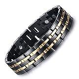 Vyaaa Para Hombre 18K Pulseras Acero Inoxidable de la salud magnéticos oro Negro Ajustable 21.5cm con Caja de Regalo