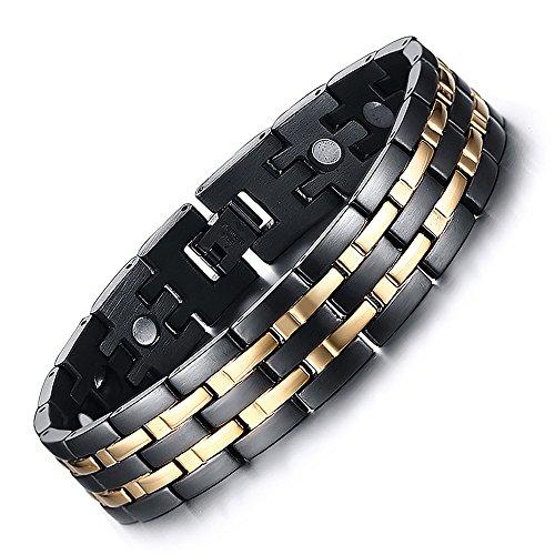 Vyaaa Para Hombre 18K Pulseras Acero Inoxidable de la salud magnéticos oro Negro Ajustable 21.5cm...