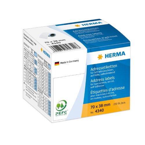 Herma 4340 Adressetiketten für Schreibmaschinen auf Rolle (70 x 38 mm) weiß, 250 Adressaufkleber, Papier matt, selbstklebend
