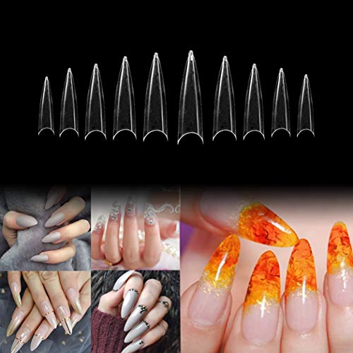 Vivace Clear Long Stiletto 500 Acrylic Fake False Nail Tips 10Sizes For Nail Salon Nail Shop (Clear Long Stiletto)