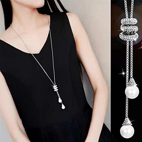 Gluckliy Simulated Pearl Pendant Crystal Rhinestones Long Necklace Sweater Chain Vintage Accessary for Women Girls (Silver)