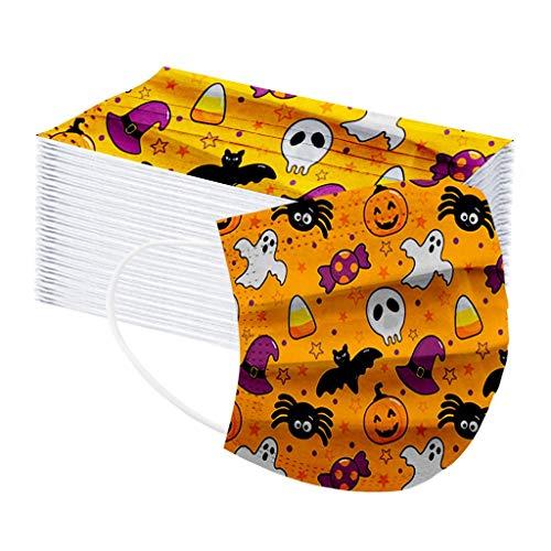 MOTOCO 50/100 Pack Kinder Multifunktionstuch Drucken Einmal Face Shields Atmungsaktive Bandana mit Ohrriemen für Jungen und Mädchen(G50)