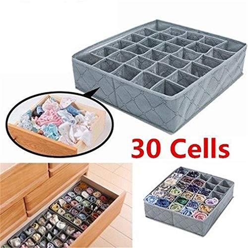 Weisin 30 Compartment Drawer Organizer Faltbare Schrankunterteilungen für BHS Unterwäsche Socken Krawatten und Schals Faltbare Aufbewahrungsbox