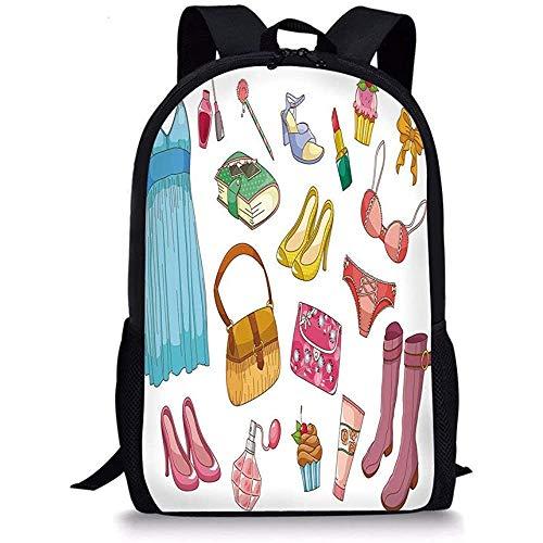 Hui-Shop Schultaschen Absätze und Kleider, Modische Mädchenartikel Cartoon Style Kosmetikstiefel...