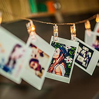 LED Photo Clip String Lights, Amazlab T2C Christmas Wedding Party Decorative Lights, Hanging Fairy Lights, 16 Photo Clips with Battery Powered, Warm White (USB)