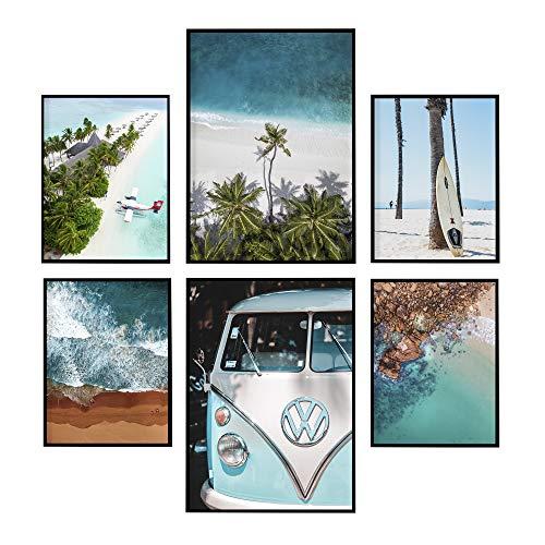 LAMINAHOME Set de laminas decorativas para enmarcar. Cuadros Decorativos Grandes 30x40 cm y A4 (21x29,7cm). Posters decoración hogar moderno (Playas y surf)