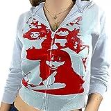 Mujer Y2K Sudadera con capucha E-Girl Zip Up Sudadera Vintage con capucha Retrato Estampado Gráfico Chaqueta con Bolsillo Manga Larga Abrigo Streetwear, D-blue Portrait Print, M