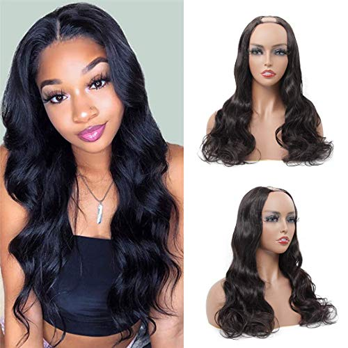 U Part Wigs Human Hair Body Wave Wig Human Hair 2'x4' Middle Part Clip In Hair Extensions Glueless Half Wigs for Black Women Natural Color (18 Inch)