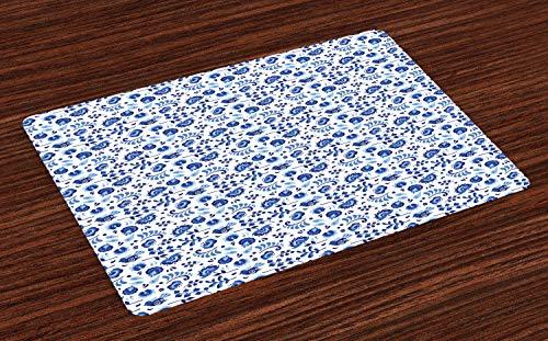 ABAKUHAUS Fleur Lot de Sets de Table en 4 pièces, Folk Art Design avec des Oiseaux, Tissu Lavable pour Salle à Manger et Cuisine, 30 cm x 45 cm, Blanc Bleu pâle Azure