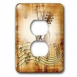 Receptáculo único dúplex, placa de pared de salida marrón Grunge Nota de música fondo con guitarra eléctrica Art 2 enchufe cubierta de tomacorriente, multicolor