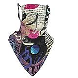Máscara antiviento cómoda, Blues Music Género Old Record Guitarras eléctricas Kiss Inscripciones Grunge,Decoraciones faciales impresas para adultos unisex, 0 filtros