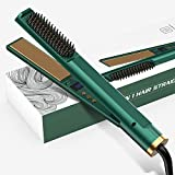 FUEIEAR 3 in 1 Hair Straightener Flat Iron, Straightener and Curler, 3in 1 Tourmaline Ceramic Flat Iron for All Hair Types, 12 Gears Temperature Settings, Gift for Girls /Women/Girlfriend/Mom - Green